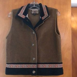 Brown and green fleece button up vest